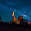 Balanced Rock And Milky Way At Night