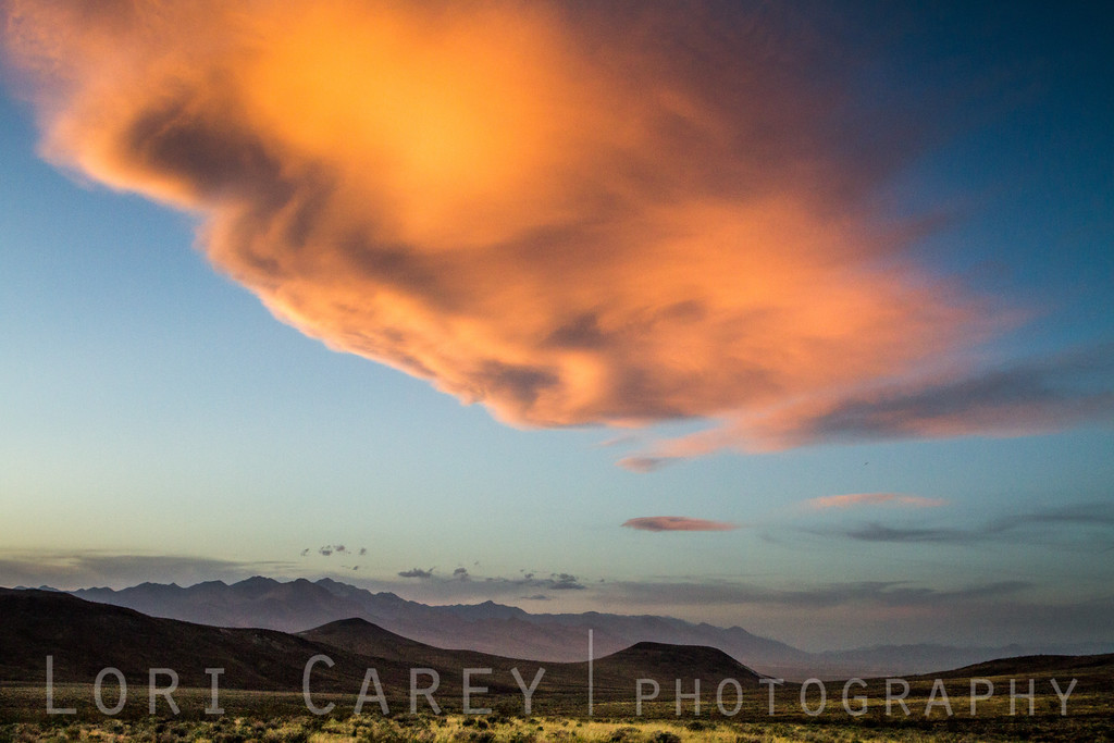 Large red cloud at sunset over the El Paso Wilderness, California
