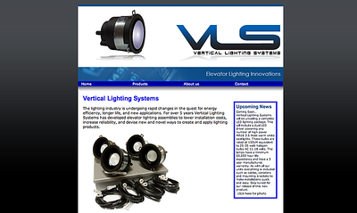 Web Design Vertical Lighting Systems - Elevator Interior Lighting Dreamweaver - Web Creation / CSS / HTML Photoshop - Photo Editing Photographer - Nathan Riccomini (Nikon D200)