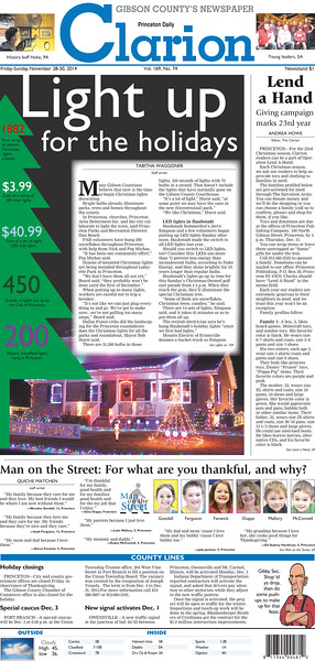 Newspaper front page design. Center piece feature layout.