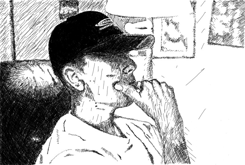Portrait (hand cross-hatching)<br /> Adobe Photoshop