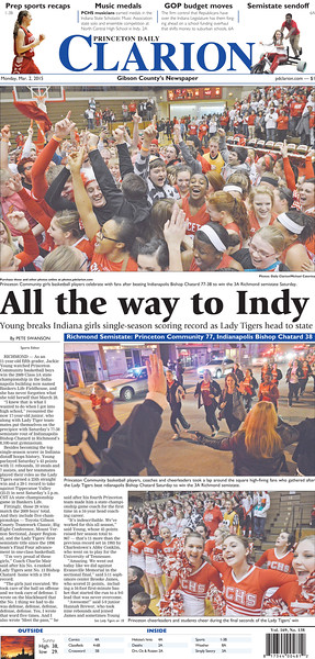 Newspaper front page design.