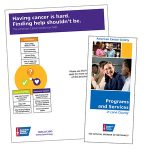 American Cancer Society CRC Programs and Services brochure and brochure holder