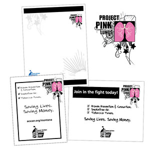 American Cancer Society Cancer Action Network Project Pink Lungs graphics and materials