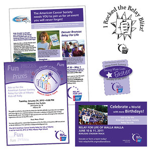 American Cancer Society A few Relay For Life materials - poster, flyer, invitation, theatre slide, and graphics