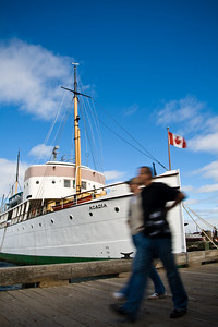 "The Canadian boat ""Acadia"" docked on the Halifax wharf"