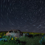 Old Car and Star Trails