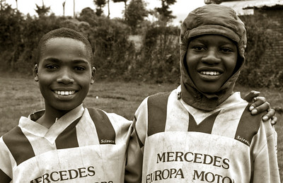 Soccer players in Northwestern Rwanda near Congo border, Africa