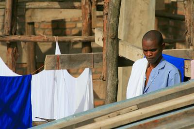 Hotel staff doing laundry, Butare, Rwanda; 2007