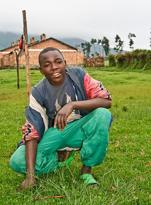 Soccer player in Northwestern Rwanda near Congo border, Africa