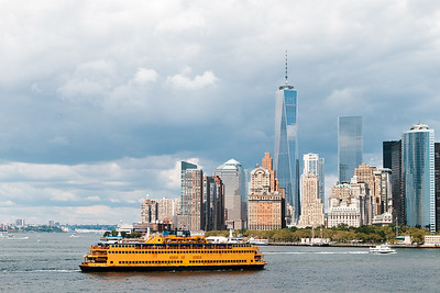 View of downtown Manhattan and Staten Island Ferry across East River