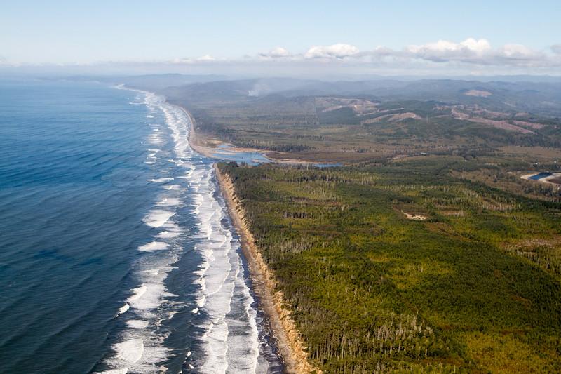 Aerial view of a coastline
