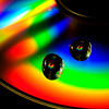 Water droplets on a cd create a rainbow of colors.