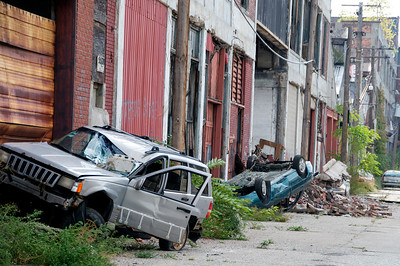 Wrecked cars outside Packard Plant