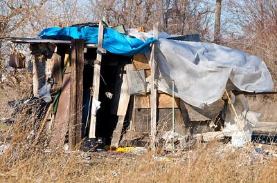 Homeless shack, Downtown Detroit