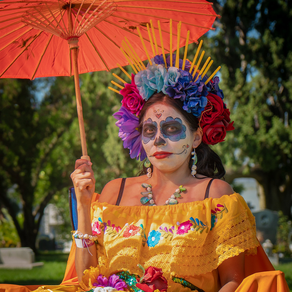 Woman dressed up for Dia de Los Muertos