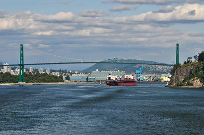 Freighter Passing Under Lions Gate Suspension Bridge