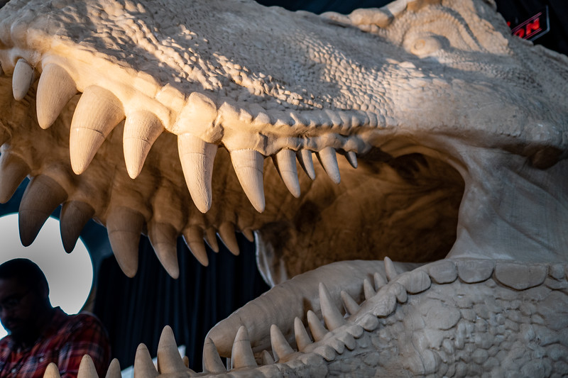 Detail of Stan Winston Studios T-Rex at the Jurassic Con booth