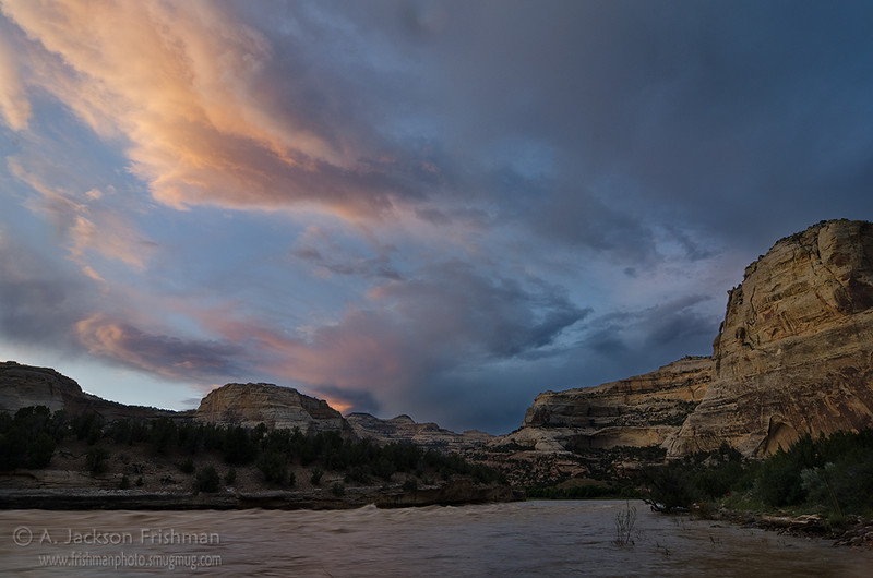 Sunset over Harding Hole, Yampa River, June 2011.