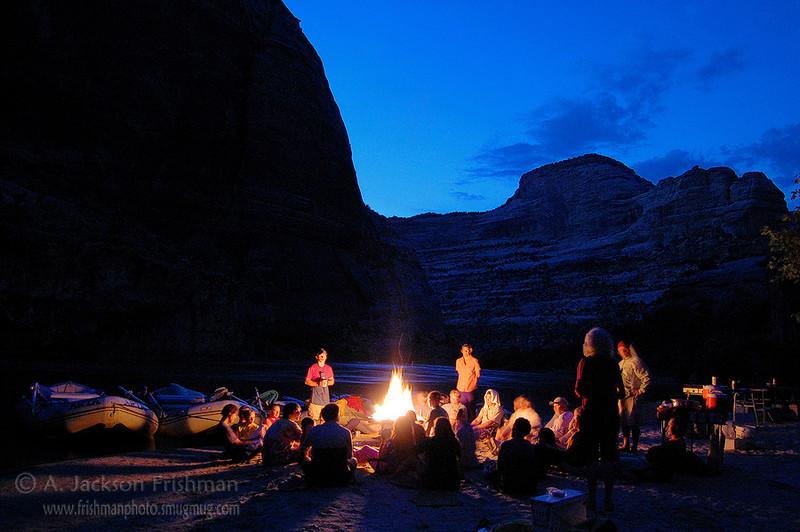 Firelight and good company, Yampa River, Colorado, July 2008.