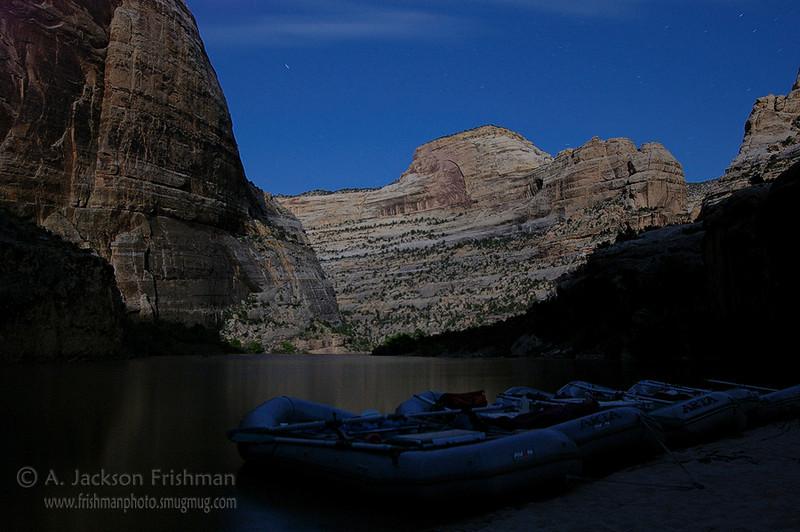 Full moon night at Box Elder Camp, Yampa River, Colorado, June 2008.