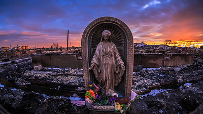 Blessed virgin mary at Breezy Point, NY after Hurricane Sandy