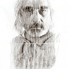 Digital double exposure of Michael Barath and a container of wheat grass. This image explores people and various textures. 2014.