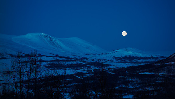 Moon over Dovre mountains
