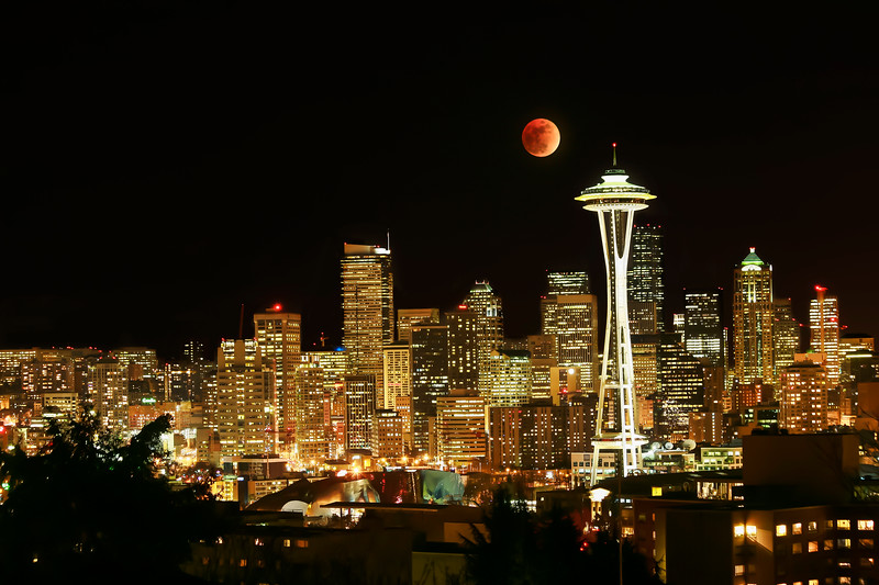 Space Needle with Lunar Eclipse