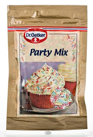 308399 Dr.OETKER Erivärvilised ströslid Party Mix 50g (18) 5701073063668