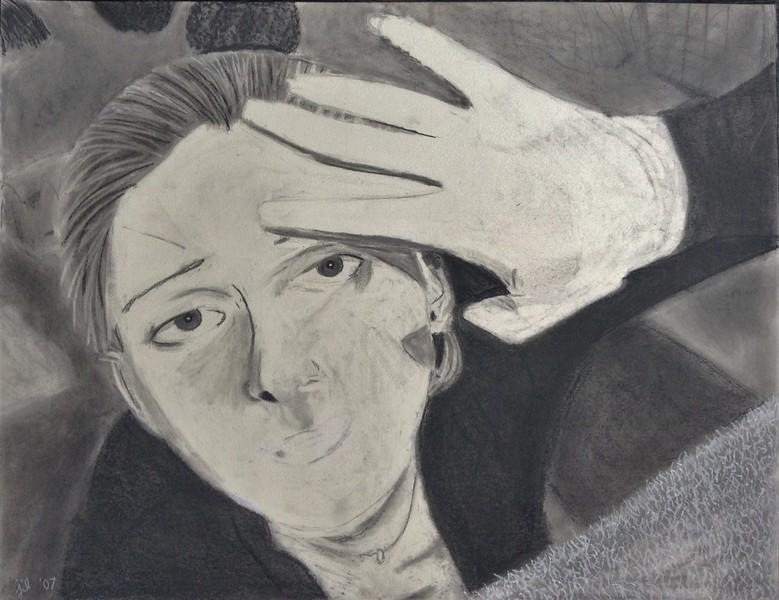 "conte crayon on paper, 18 x 14""   2007"