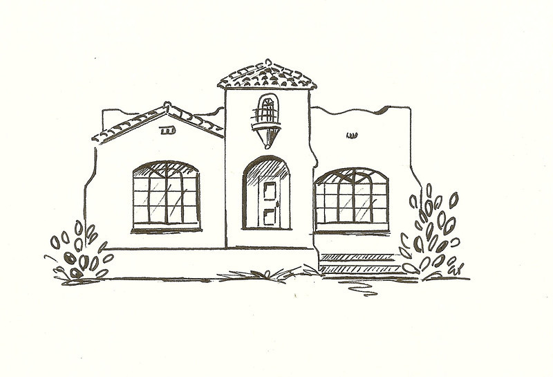 Spanish Colonial Revival, Pen and Ink, 2010