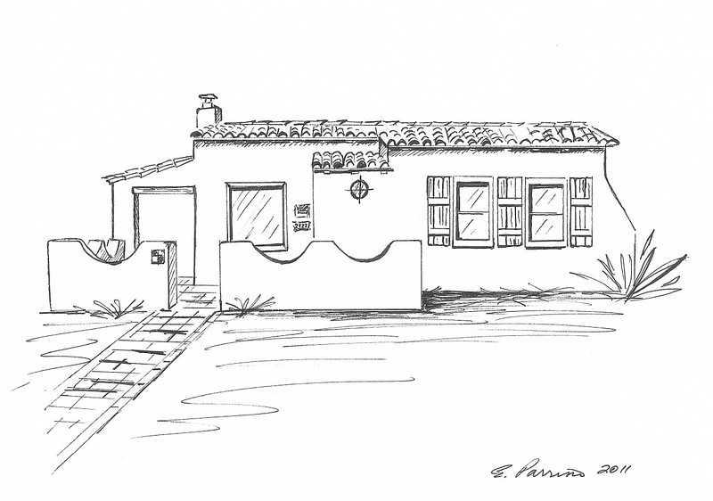 Commissioned drawing, Joesler Home, E. Helen St. Tucson