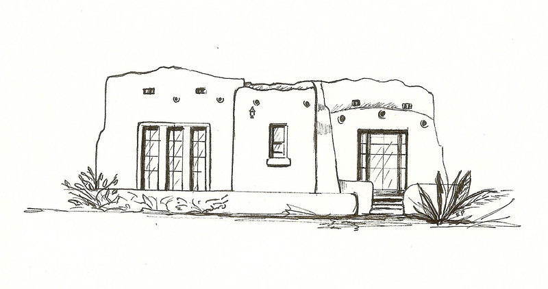 Pueblo Revival, Pen and Ink, 2011