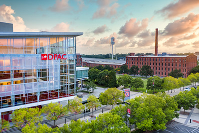 Drone view of DPAC, Durham NC