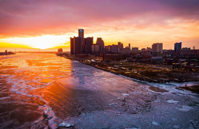 Sunset Over The Frozen Detroit River