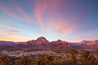 Sunset over Sedona, AZ as seen from the road to Sedona Airport.