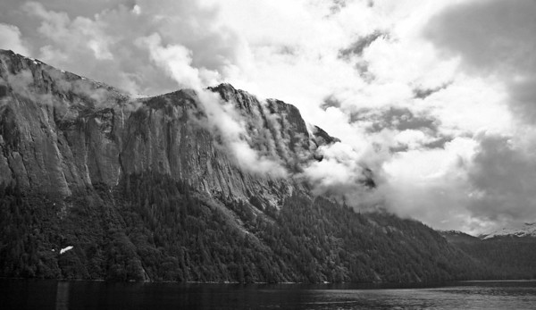 Clouds gather over the walls of Misty Fijord, south of Ketchican, AK.