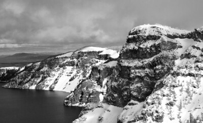 East rim of Crater Lake, OR in February 2013.