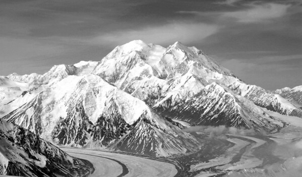 View of eastern slope of Mt. McKinley and glaciers taken during a Denali Air flight tour.