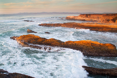 Montana de Oro coastline in late afternoon, looking north toward Morro Bay.