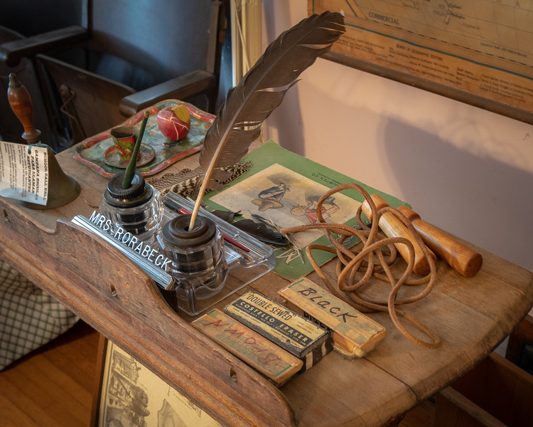 Soft focus applied to teacher's desk scene  on display at the Durrell House
