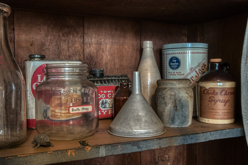 Close up image of kitchen shelf in the Durrell House