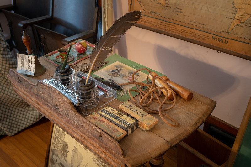 Teacher's desk, part of the schoolroom display at the Durrell House