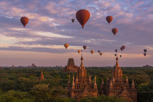 Balloons over Bagan at sunrise - Bagan, Myanmar