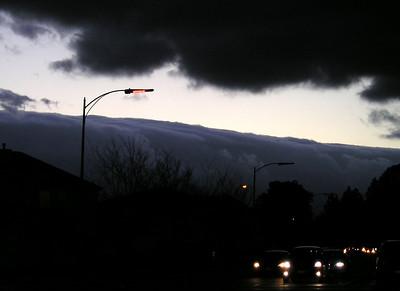 Feb 15: The fog bank rolls over the coastal range into the Santa Clara valley.