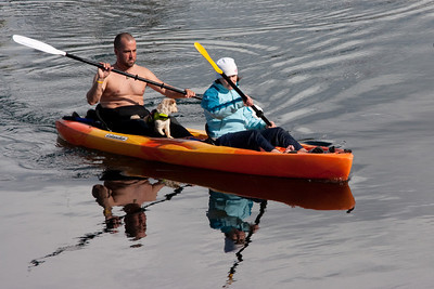 Kayakers and their little dog, too!