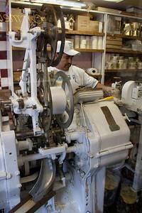 The taffy machine operator.