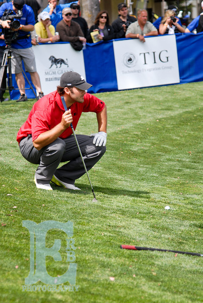 Use the rule of thirds for a more dynamic image. I framed Tony Romo on the left side to emphasize his gaze as he negotiated the 18 hole at the Cox Celebrity Golf Championship.