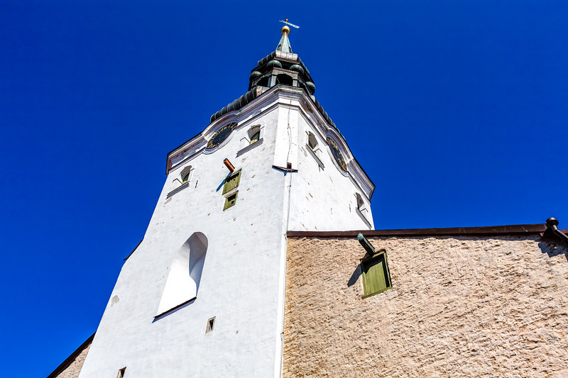 Facade of the white tower of the dome cathedral-the oldest church of Tallinn, Estonia, Eastern Europe